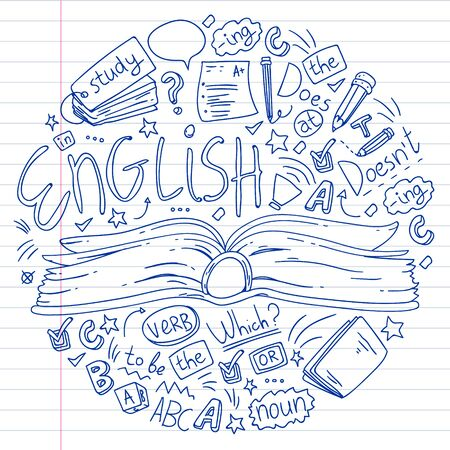 English courses. Doodle vector concept illustration of learning english language