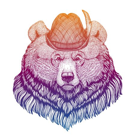 Vector grizzy bear. Bavarian traditional hat. Tirol austrian hat. Beer Oktoberfest character portrait.