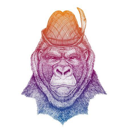 Vector gorilla, monkey. Bavarian traditional hat. Tirol austrian hat. Beer Oktoberfest character portrait.