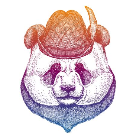 Vector panda, bamboo bear. Bavarian traditional hat. Tirol austrian hat. Beer Oktoberfest animal portrait.