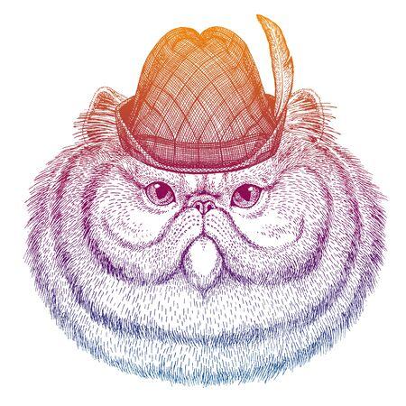 Vector panther. Bavarian traditional hat. Tirol austrian hat. Beer oktoberfest animal portrait.