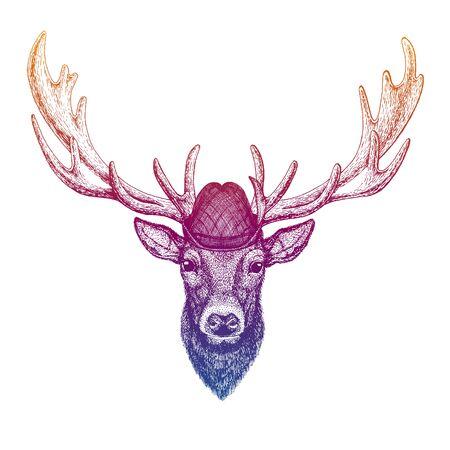 Vector deer. Bavarian traditional hat. Tirol austrian hat. Beer Oktoberfest character portrait. Иллюстрация
