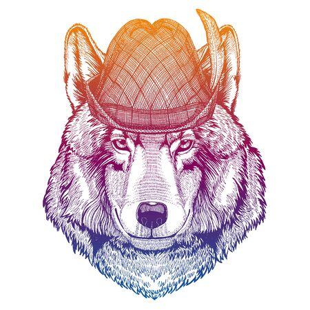 Vector wolf, dog. Bavarian traditional hat. Tirol austrian hat. Beer oktoberfest animal portrait.
