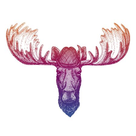 Vector moose, elk. Bavarian traditional hat. Tirol austrian hat. Beer Oktoberfest character portrait.