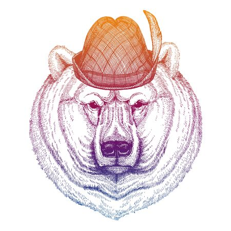 Vector polar bear. Bavarian traditional hat. Tirol austrian hat. Beer oktoberfest animal portrait.