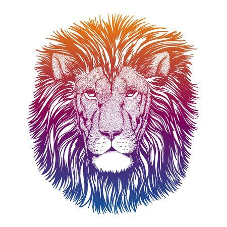 Hipster lion vector illustration. Mascot. Portrait of wild animal for emblem. Ilustracja