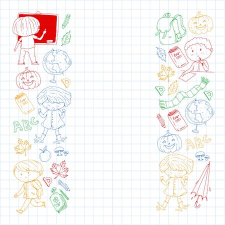 Back to school vector pattern. Education icons for children. Illustration