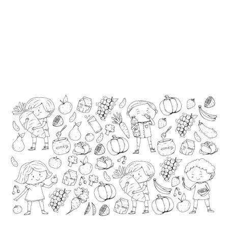 healthy food concept, vintage style, heart shape. vector illustration