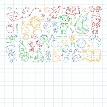 Kindergarten with toys. Pattern for children. Little preschool kids education. Drawing, learning, play