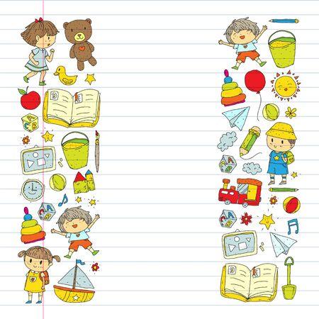 Kindergarten with toys. Pattern for children. Little preschool kids education. Drawing, learning