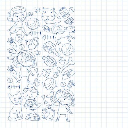 Pet shop. Vector illustration with animals, dog, cat, fish, Colorful background with kitten, bird, puppy. Veterinarian clinic. Vektoros illusztráció