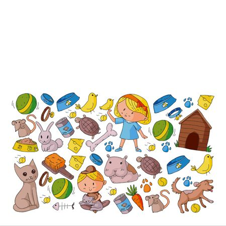 Pet shop. Vector illustration with animals, dog, cat, fish, Colorful background with kitten, bird, puppy. Veterinarian clinic. Ilustrace