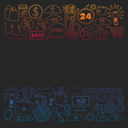 Conceptual illustration of projects organization, risk, development. Team working, budget planning. Illustration