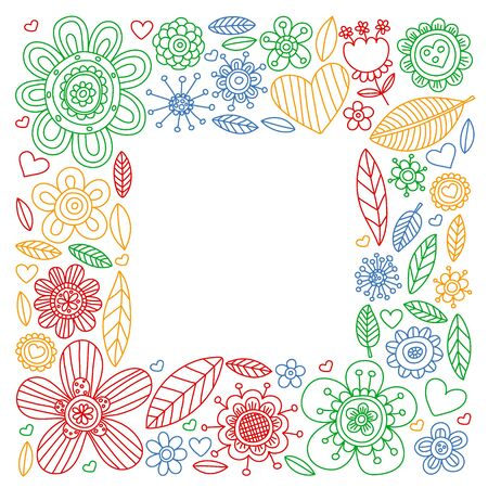Flowers March 8. Doodle pattern. Vector icons for women. 向量圖像