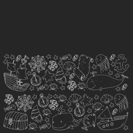 Vector set with underwater diving icons and pirate elements.
