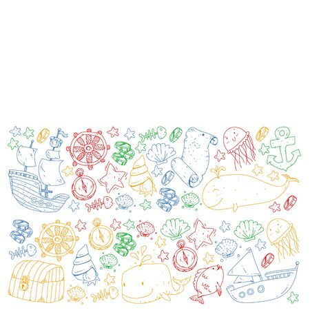 Vector set with underwater diving icons and pirate elements. Treasure chest, ship, octopus, diver. Little boys and kingergarten preschool girls summer vacation and adnventure