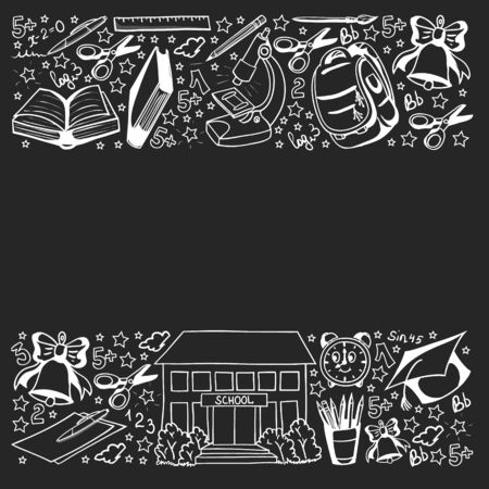 School pattern. Vector doodle style icons. Mathematis, astronomy, geography, biology, physics.