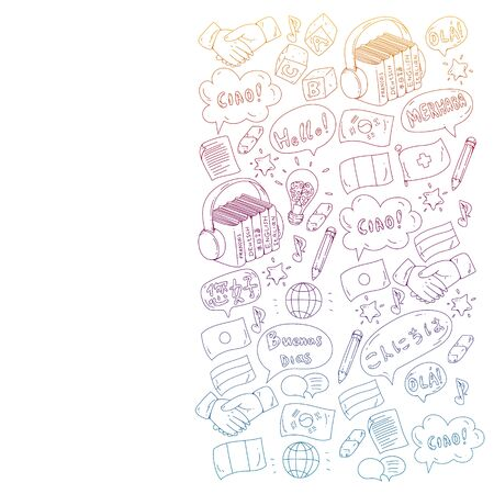Spanish, english, italian, french, german arabic chinese Vector icons Language learning