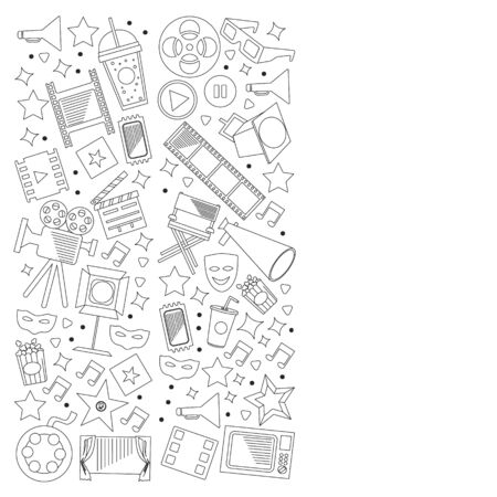Cinema, video. Doodle set of vector icons. Megaphone, camera, movie. Musical theathre, entertaiment.