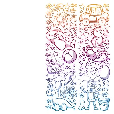 Vector pattern with toys for little kindergarten children. Dinosaur, teddy bear, rocket, ship, airplane, balloon, car, motorcycle, truck.