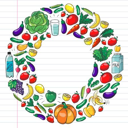 Vector pattern with healthy food. Fruits and vegetables. Milk, dairy