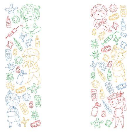 Vector pattern with little children. Illustration of Child diseases, flu, illness. Ilustracja