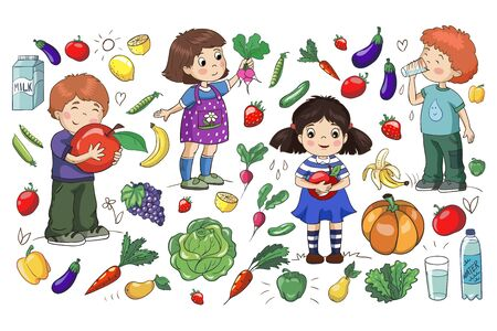 Healthy food. Children with fruits and vegetables.