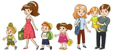 Familienreisen und Urlaub. Mutter, Vater Schwester Bruder Vektorgrafik