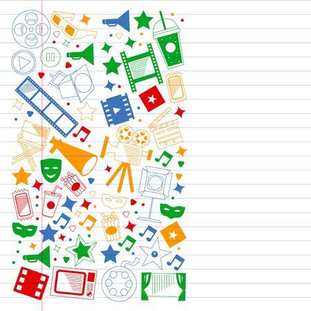 Movie Theater, TV, popcorn, video clips, musical Vector pattern with cinema icons Vektoros illusztráció