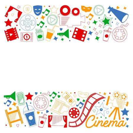 Movie Theater, TV, popcorn, video clips, musical Vector pattern with cinema icons