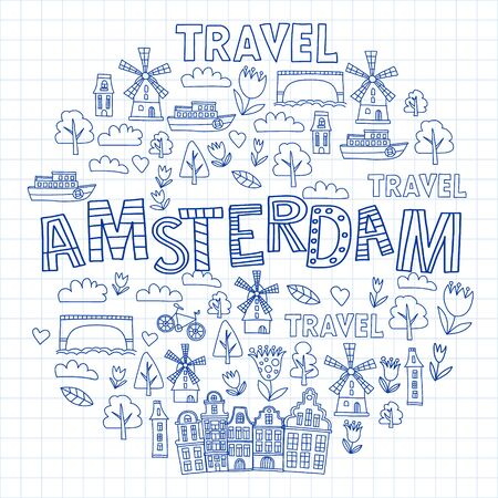 Vector pattern with Holland, Netherlands, Amsterdam icons. Doodle style Vettoriali