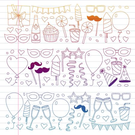 Vector pattern with bithday icons. Holiday and celebration. 向量圖像