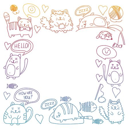 Vector pattern with cute little cats and kittens for children