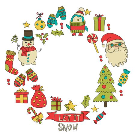 Christmas element in doodle kids drawing style. Vector pattern Stock Illustratie
