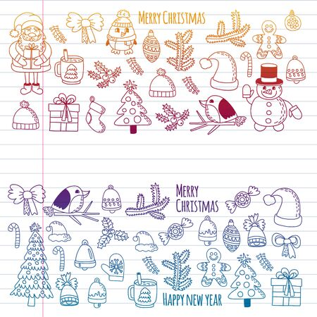 Christmas element in doodle kids drawing style. Vector pattern.