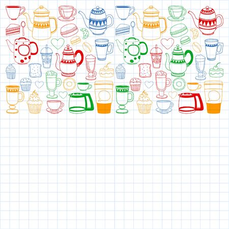 Coffee menu. Vector pattern with cappuccino, espresso. Kitchen, cooking, beverages. Ilustração