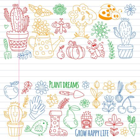 Cute gardening. Icons for banners. Vector pattern for backgrounds.