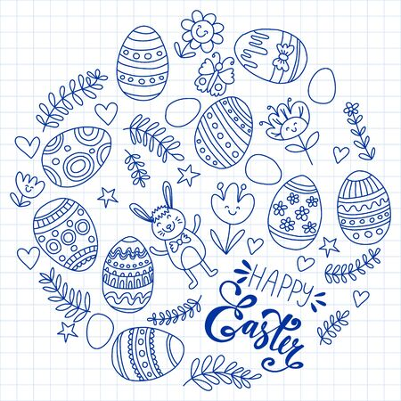 Happy Easter. Vector pattern with eggs, bunny, flowers. Archivio Fotografico - 140186942