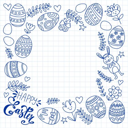Happy Easter. Vector pattern with eggs, bunny, flowers. Archivio Fotografico - 140186944