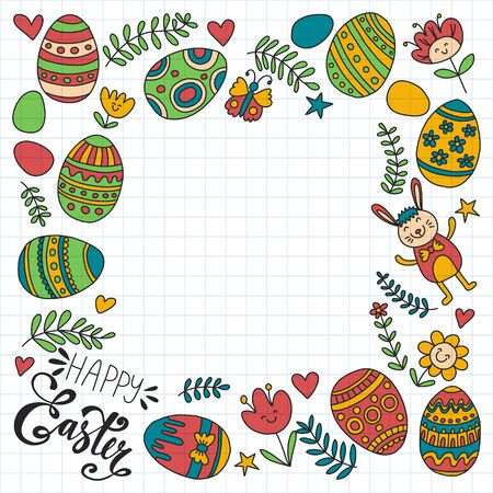 Happy Easter. Vector pattern with eggs, bunny, flowers. Archivio Fotografico - 140186957
