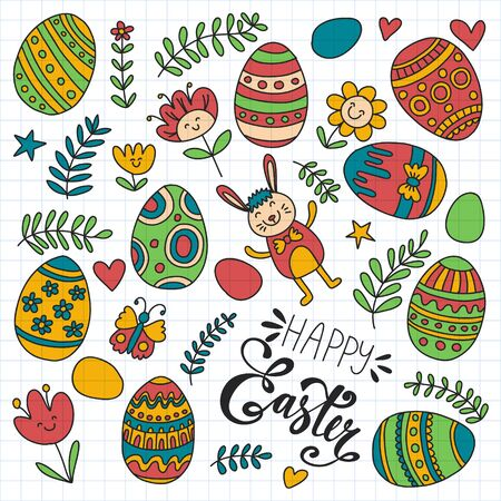 Happy Easter. Vector pattern with eggs, bunny, flowers. Archivio Fotografico - 140186963