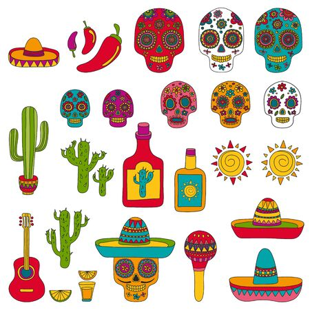 Mexico vector pattern. Day of the Dead. Icons for posters, banners, backgrounds. Vector Illustration