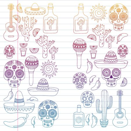 Mexico vector pattern. Day of the Dead. Icons for posters, banners, backgrounds.