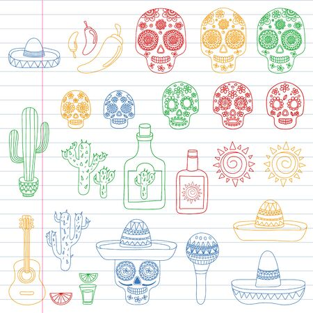 Mexico vector pattern. Day of the Dead. Icons for posters, banners, backgrounds. Stok Fotoğraf - 140187275