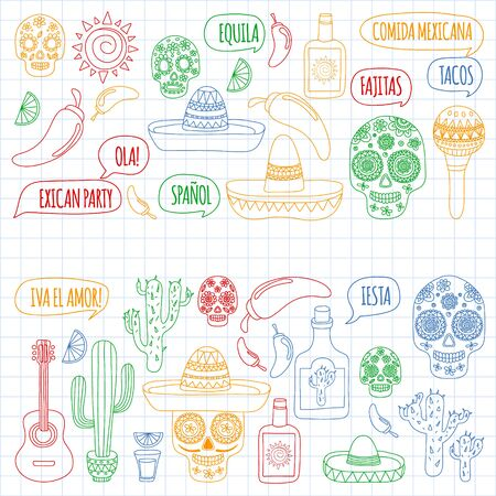 Mexico vector pattern. Day of the Dead. Icons for posters, banners, backgrounds. Stok Fotoğraf - 140187279