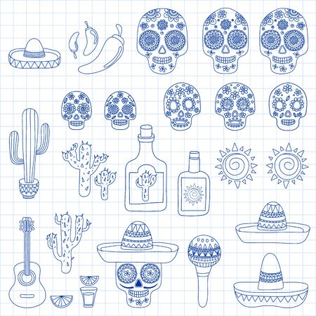 Mexico vector pattern. Day of the Dead. Icons for posters, banners, backgrounds. Stok Fotoğraf - 140187289
