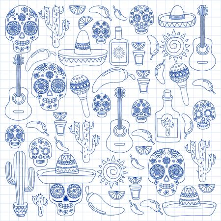 Mexico vector pattern. Day of the Dead. Icons for posters, banners, backgrounds. Stok Fotoğraf - 140187291