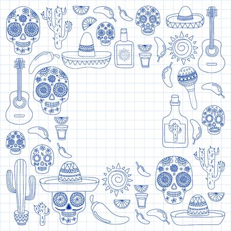Mexico vector pattern. Day of the Dead. Icons for posters, banners, backgrounds. Stok Fotoğraf - 140187292