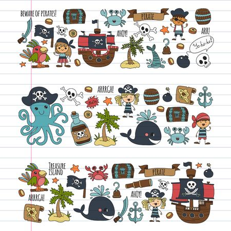 Vector pattern with pirate icons. Adventure, birthday party.