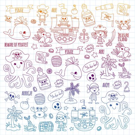 Vector pattern with pirate icons. Adventure, birthday party. Illustration